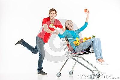Couple shopping.