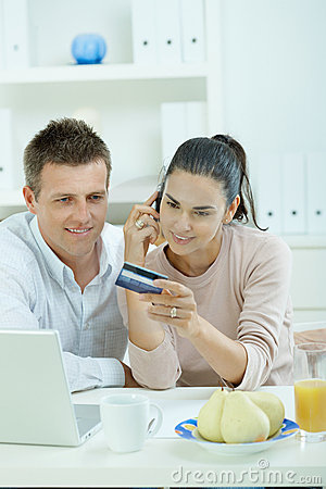 Couple shopping on internet