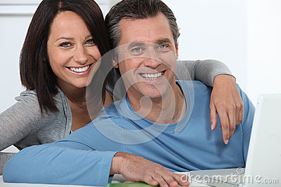 Couple shopping on-line