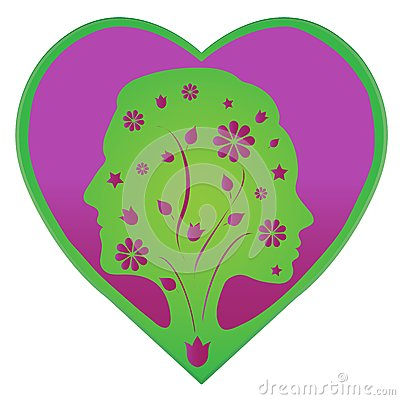 Couple silhouette in a heart