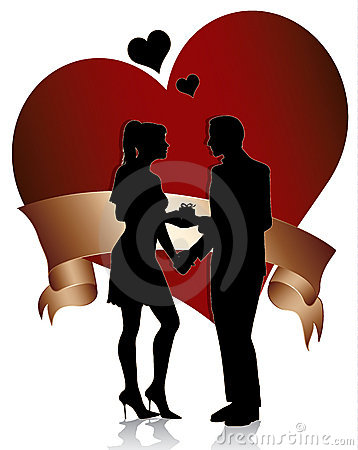 Couple silhouette with heart and ribbon