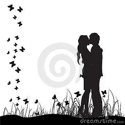 Couple silhouette,kiss,meadow