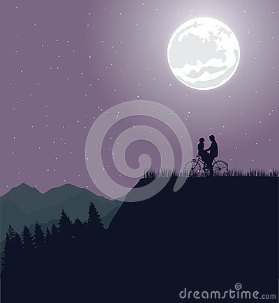 Couple silhouette under the moon in bicycle riding bike romance Vector Illustration