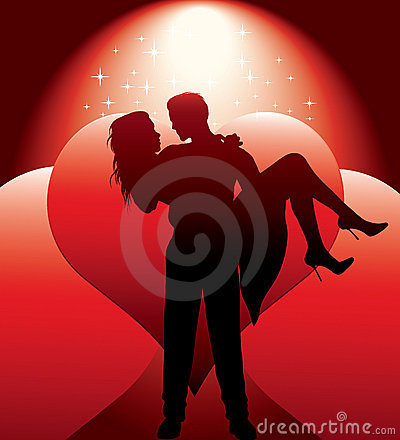 Free Couple Silhouette With Hearts Stock Photography - 22818412