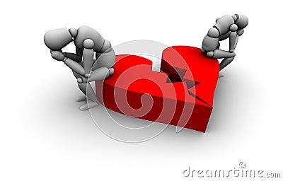 Couple Sitting on Broken Heart
