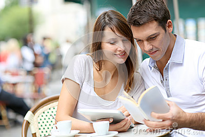 Couple sitting at a coffee shop