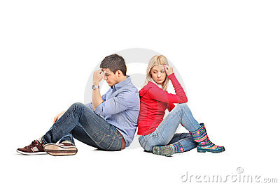 Couple sitting after having an argument