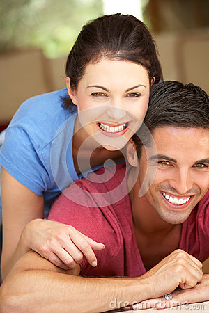 Couple Sitting Lying House