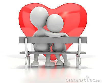 Couple sitting on park bench by heart