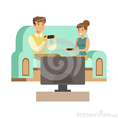 Couple Sitting On The Sofa With Joysticks,Part Of Happy Gamers Enjoying Playing Video Game, People Indoors Having Fun Vector Illustration