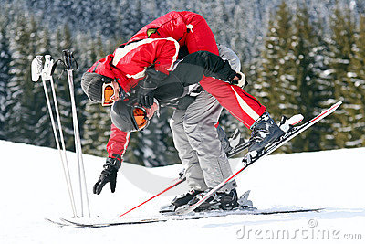 Couple of skiers having fun