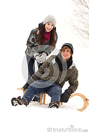 Couple on sled
