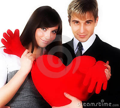 Couple smiling over a white background