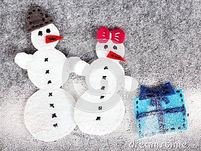 Couple of snowman Stock Photo