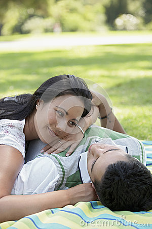 Couple Spending Leisure Time In Park