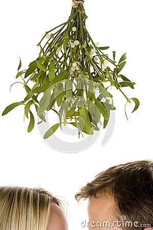 Couple standing beneath mistletoe