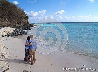 Couple Standing on Frys Beach in Antigua Barbuda