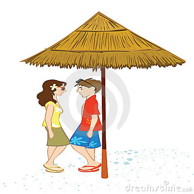 Couple standing under a shed