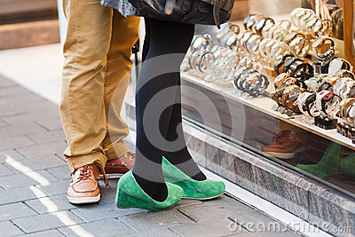 Couple stands at a jewelery shop