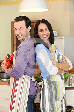 Couple stood in the kitchen