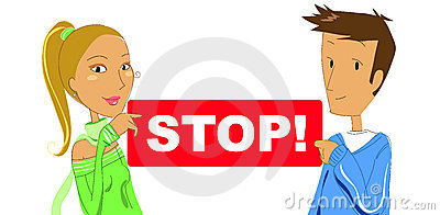 Couple with STOP sign- vector illustration