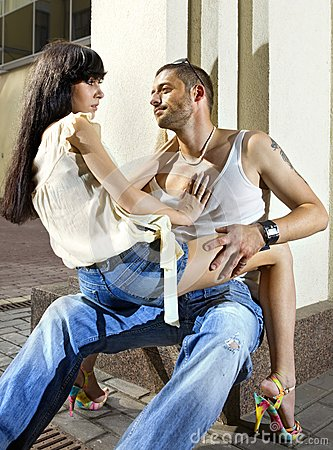 Couple on the street at summer
