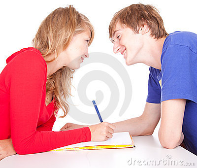 Couple students studying together