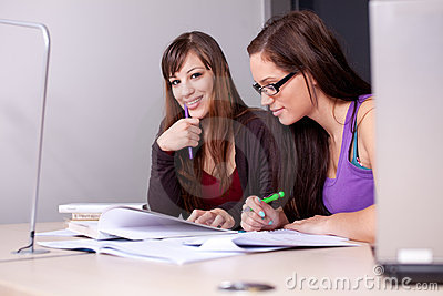 A couple of students studying together