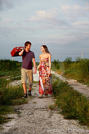 Couple with suitcase