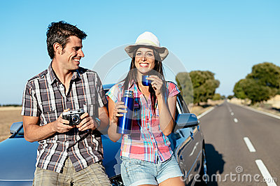 Couple on summer car trip