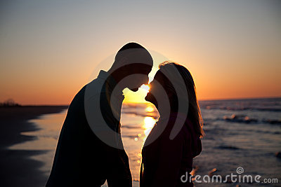 Couple on sunrise