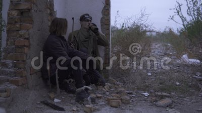 Couple Of Survivors With Weapons In Abandoned Ruined Remains Stalker In The Post Apocalyptic World Stock Video Video Of Couple Environment 138128713