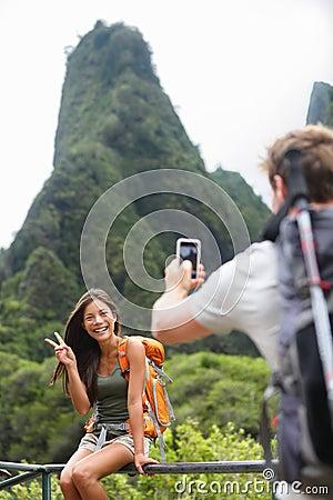 Free Couple Taking Photos Having Fun Lifestyle, Hawaii Stock Image - 39847051