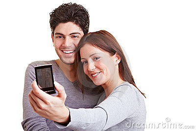 Couple taking self portraits