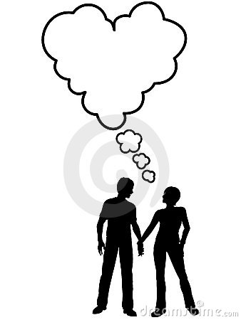 Couple talk think love in heart speech bubble