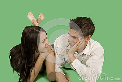 Couple talking on floor