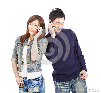 Couple talking on the phone