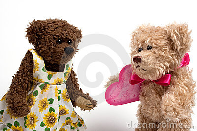 Couple teddy bears with heart. Valentine s day
