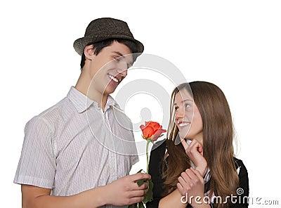 Couple of teen flirting