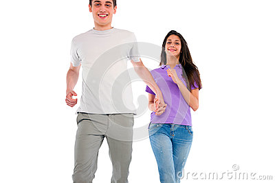 Couple of teenagers running