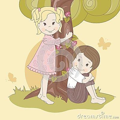 Couple  teens under tree .