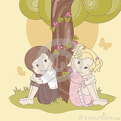 Couple  teens under tree