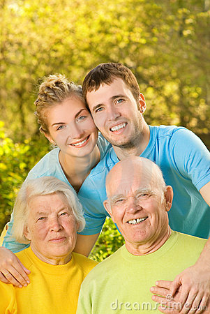 Couple and their grandparents