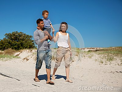 Couple and Their Young Son on a Hot Summer Day