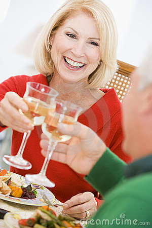 Free Couple Toasting At Christmas Dinner Royalty Free Stock Photos - 7761348