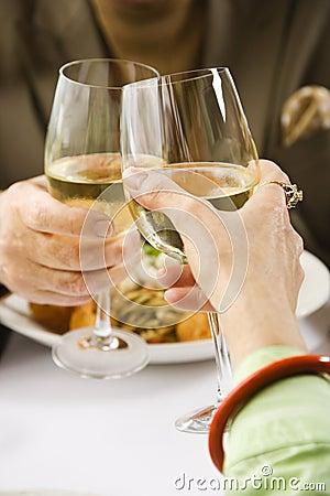 Free Couple Toasting Wine. Royalty Free Stock Images - 3421869