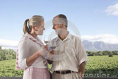 Couple Toasting Wine Glasses At Field