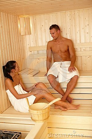 Couple together in sauna