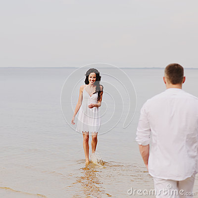 Couple together at sea