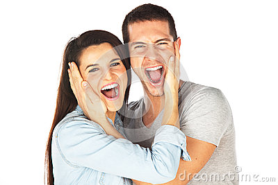 Happy young couple screaming
